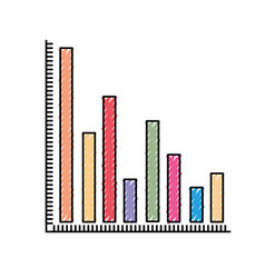 Colored crayon silhouette of column chart vector