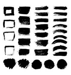 Ink black art brushes set dirty grunge vector