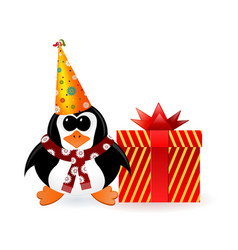 Cheerful penguin with a gift on new year vector
