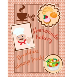 Menu on the wood and knitting background vector image