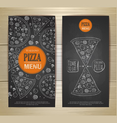 Chalk drawing pizza set of banners vector
