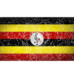 Flags uganda with broken glass texture vector
