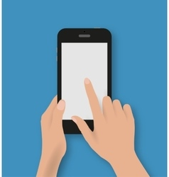 Hand touching screen of black phone vector