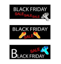 Shoes on three black friday sale banners vector