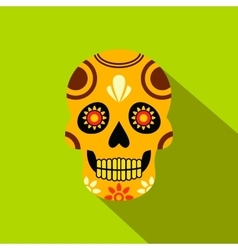 Mexican skull icon flat style vector