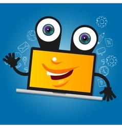 laptop computer big eyes character cartoon smile vector image