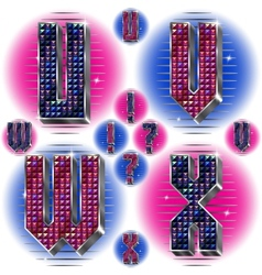 Volume letters uvwx with shiny rhinestones vector