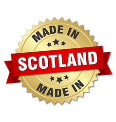 Made in scotland gold badge with red ribbon vector
