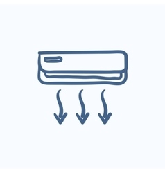 Air conditioner sketch icon vector