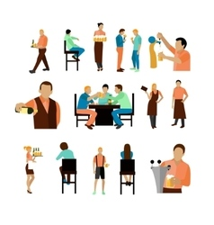 Set of beer bar workers and visitor vector