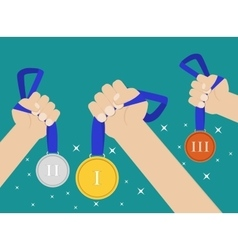 Hands holding medal vector