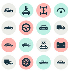 Auto icons set collection of accumulator vector