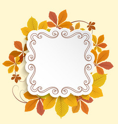 autumn label square frame with yellow leaves vector image vector image