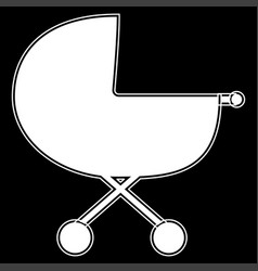 Baby carriage the white color icon vector