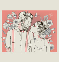 beautiful couple with floral elements vector image vector image