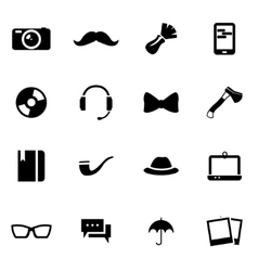 black hipster icon set vector image vector image
