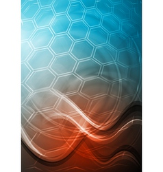 Blue and red technology background with waves vector image vector image