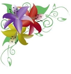 Bouquet of three multicolored roses corner vector