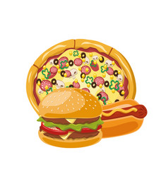 Burgerpizza hot dog vector