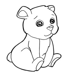 cartoon cute bear coloring page vector image vector image