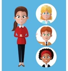 cartoon woman work office standing with people vector image