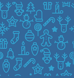 christmas symbols seamless pattern simple vector image