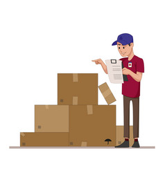 Courier checks parcels list boxes for sending vector