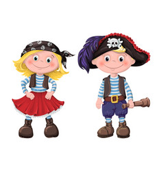 cute set of children pirates vector image vector image