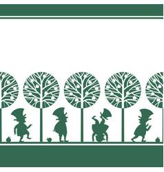 endless border with leprechauns in summer garden vector image vector image