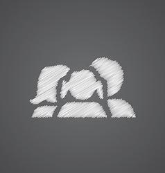 family sketch logo doodle icon vector image