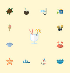 Flat icons sea star tortoise sorbet and other vector