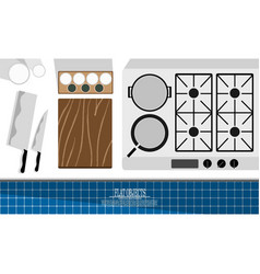 Flat object design set chef profession kitchen vector
