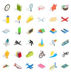 Fun icons set isometric style vector