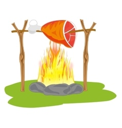 Ham on campfires vector image vector image