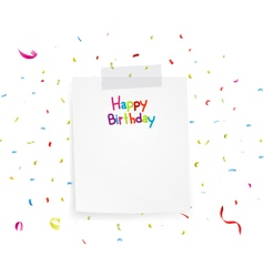 Happy birthday greetings on note paper vector image vector image