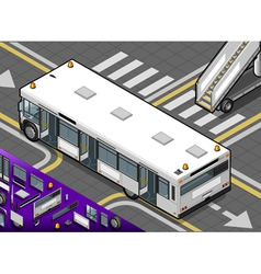 Isometric airport bus with open doors in rear view vector