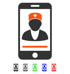 Mobile doctor flat icon vector