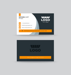 Neat grey and yellow professional business card vector