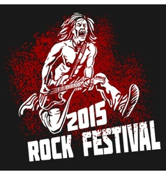 Rock star with guitar on grunge background - rock vector image vector image