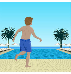 Running boy near swimming pool vector