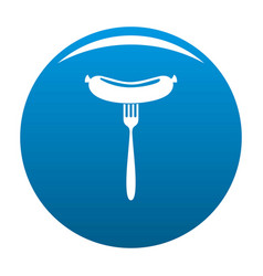 Sausage on fork icon blue vector