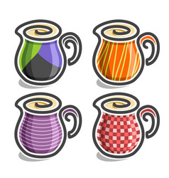 Set abstract icons of milk jugs vector