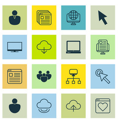 Set of 16 world wide web icons includes blog page vector