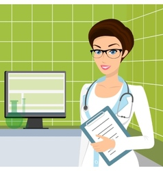 Smiling doctor wearing glasses in the consulting vector