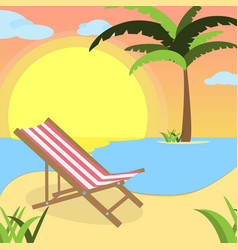 Summer background with red white lounger of beach vector