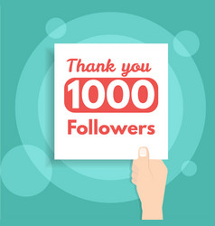 Thank you followers banner holds in hand vector