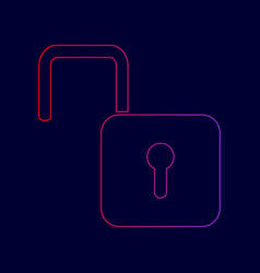 Unlock sign line icon with vector