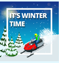 Winter background with man on snowmobile its vector