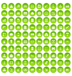100 plant icons set green circle vector
