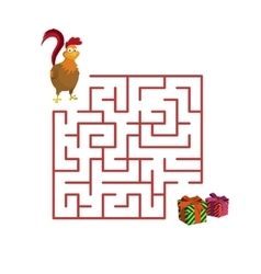 Christmas game rooster in the maze vector